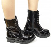 GoMandy Lackie Look-Black Laceboot/zipper